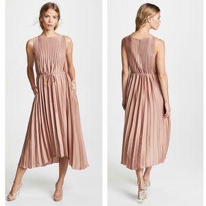 Vince Pleated Vintage Rose Sleeveless Midi Dress